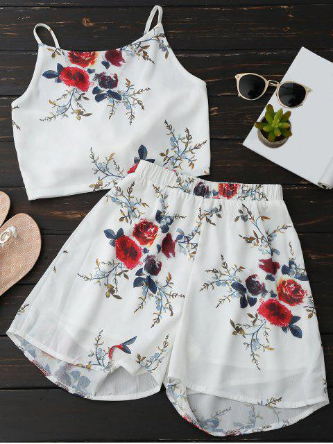 Blumen Rückenfrei Crop Top und Chiffon Shorts - Weiß M Mobile