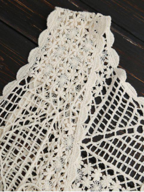 buy Crocheted Lace Sleeveless Fringed Cover Up - PALOMINO ONE SIZE Mobile
