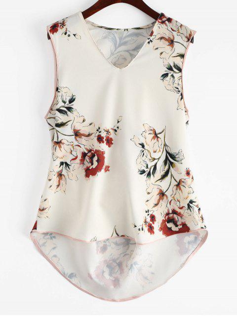 chic Floral High Low Tank Top - FLORAL M Mobile