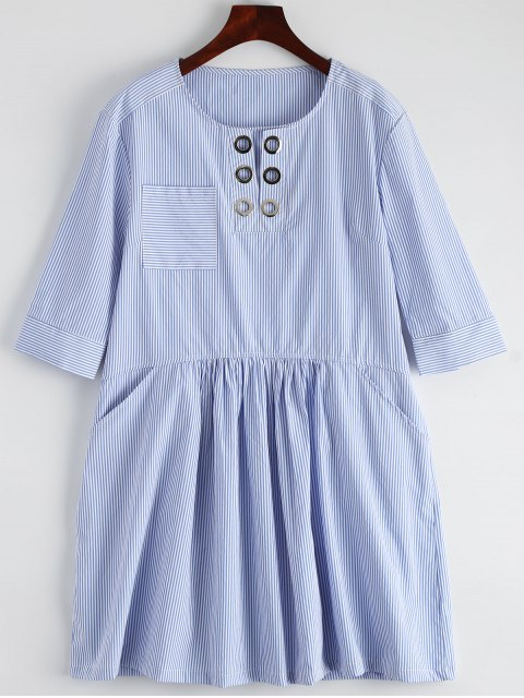 sale Striped Casual Dress With Pocket - STRIPE M Mobile