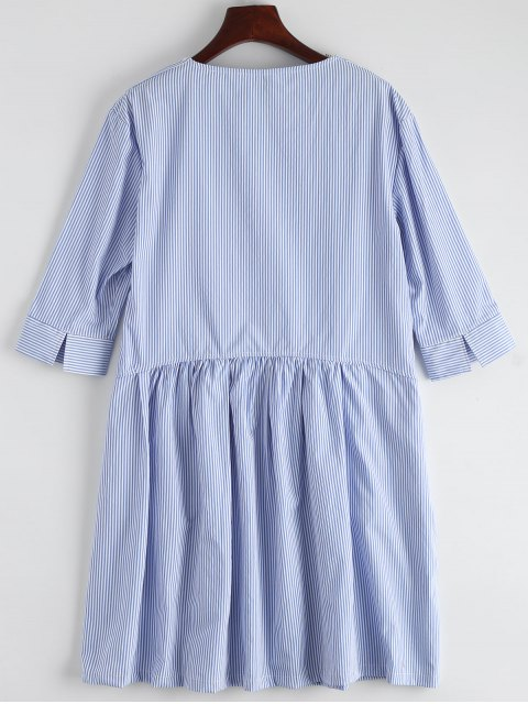 affordable Striped Casual Dress With Pocket - STRIPE S Mobile