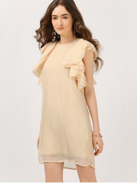 shop Chiffon Ruffles Mini Dress - NUDE S Mobile