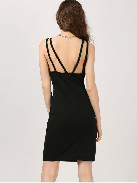 shops Plunge Strappy Bodycon Club Dress - BLACK 2XL Mobile