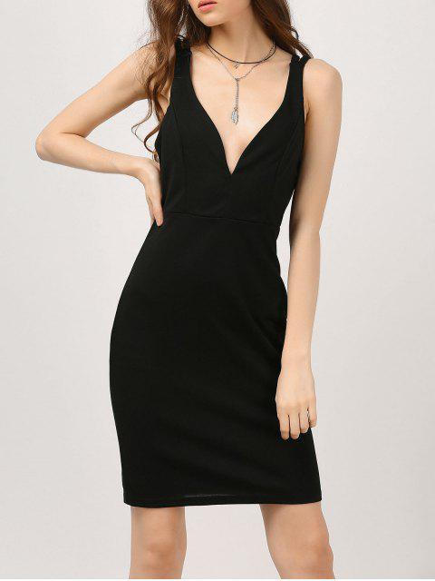 chic Plunge Strappy Bodycon Club Dress - BLACK S Mobile
