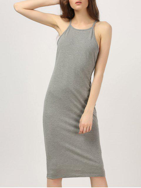 affordable Midi High Neck Bodycon Dress - GRAY M Mobile