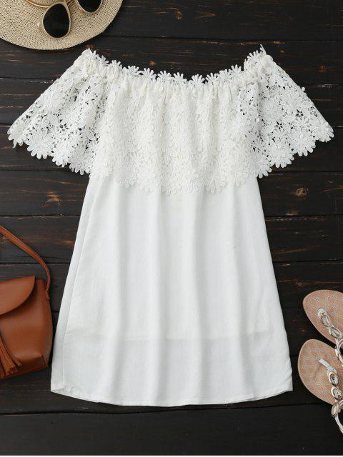 trendy Off Shoulder Crocheted Lace Panel Top - WHITE L Mobile