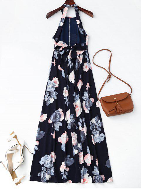 fashion Self Tie Front Slit Floral Maxi Dress - PURPLISH BLUE S Mobile