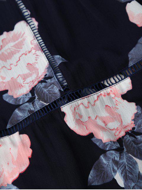Self Tie Front Slit Floral Maxi Dress - Bleu Violet L Mobile
