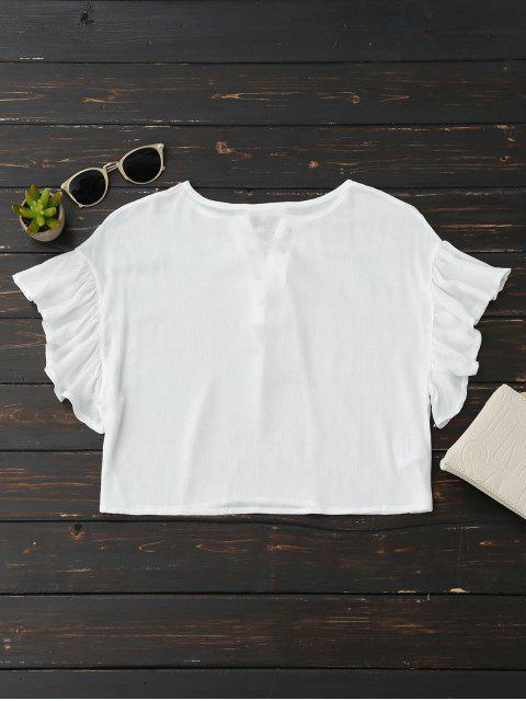 chic Cropped Lace Up Ruffled T-Shirt - WHITE S Mobile