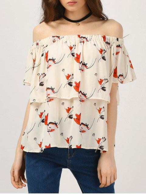 Ruffles Off The Shoulder Chiffon Top - Floral M Mobile