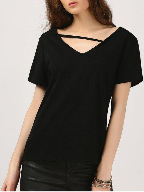 T-shirt coton confortable - Noir L Mobile