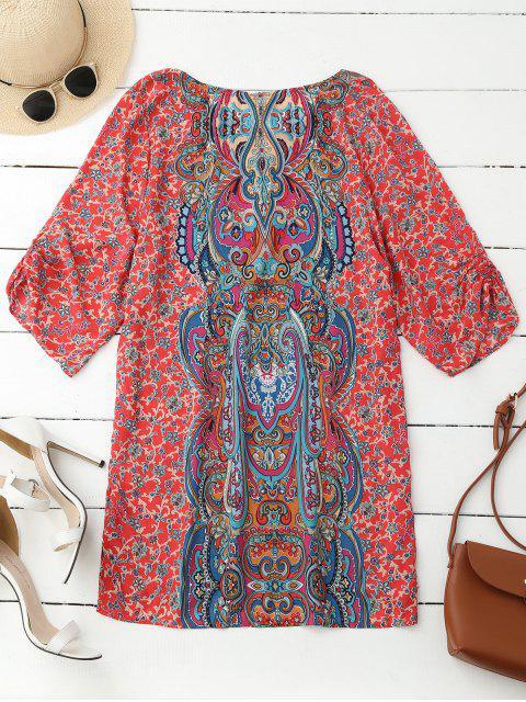 Robe tunique imprimée rétro à manches plissées à motif de paisley - Rouge L Mobile