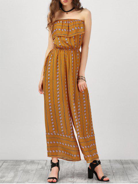 Vestido largo sin tirantes de Argyle con volantes - Amarillo profundo M Mobile