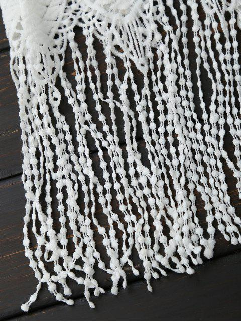 unique Sheer Crocheted Lace Fringed Tank Top - WHITE ONE SIZE Mobile