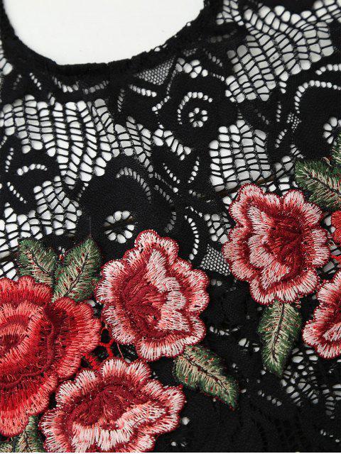 women Backless Lace Floral Applique Bodysuit - BLACK S Mobile