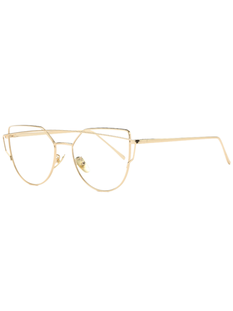 Metal Bar Golden Frame Pilot Gafas de sol - Transparente  Mobile