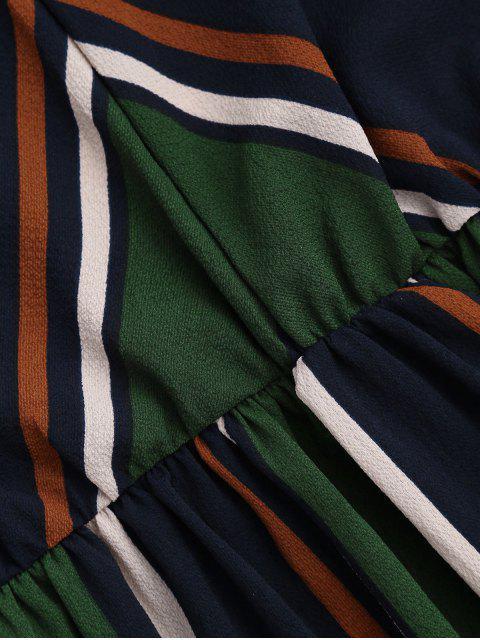 fancy Multi Stripe Cami Midi Sundress - GREEN L Mobile