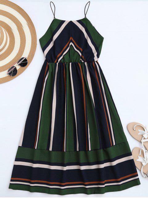 affordable Multi Stripe Cami Midi Sundress - GREEN S Mobile