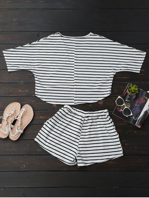 outfits High Low Striped T-Shirt with Drawstring Shorts - STRIPE XL Mobile