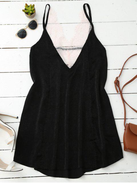 women Cami Lace Panel Satin Backless Dress - BLACK S Mobile