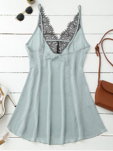 affordable Cami Lace Panel Satin Backless Dress - LIGHT GREEN L Mobile