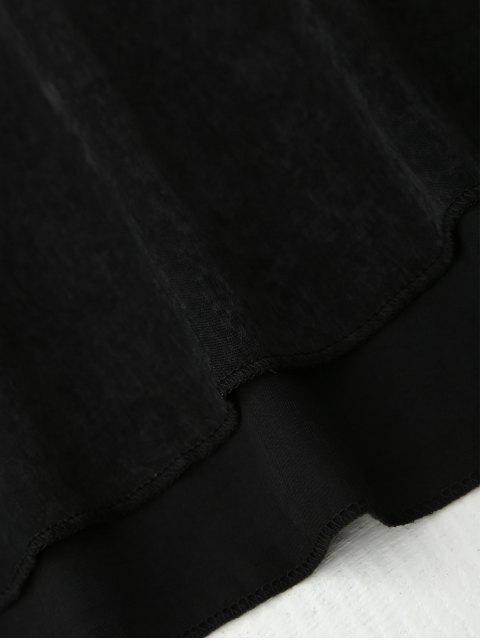 buy Cami Lace Panel Satin Backless Dress - BLACK L Mobile
