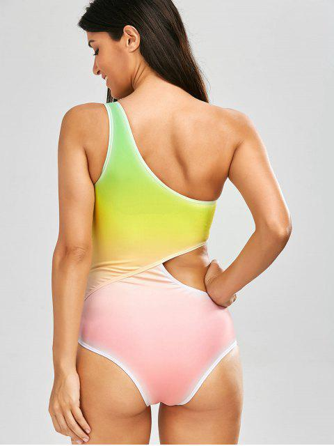 womens One Shoulder Ombre One Piece Swimsuit - YELLOW S Mobile