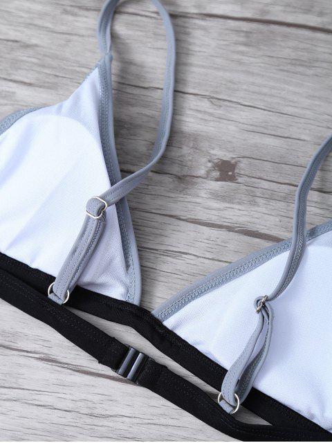 sale High Cut Color Block Bathing Suit - BLACK S Mobile