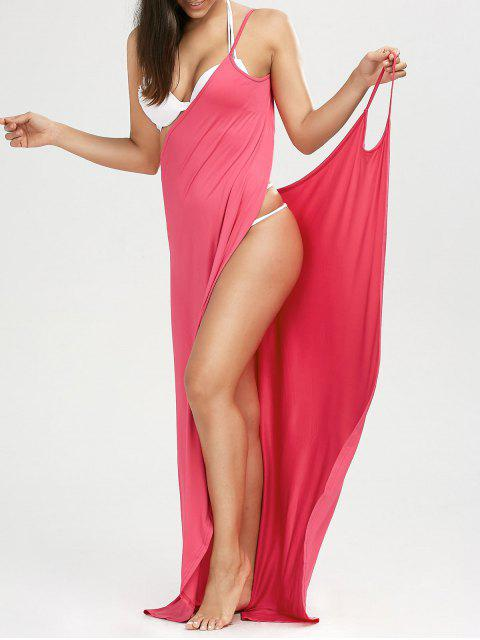 trendy Beach Maxi Wrap Slip Dress - WATERMELON RED S Mobile