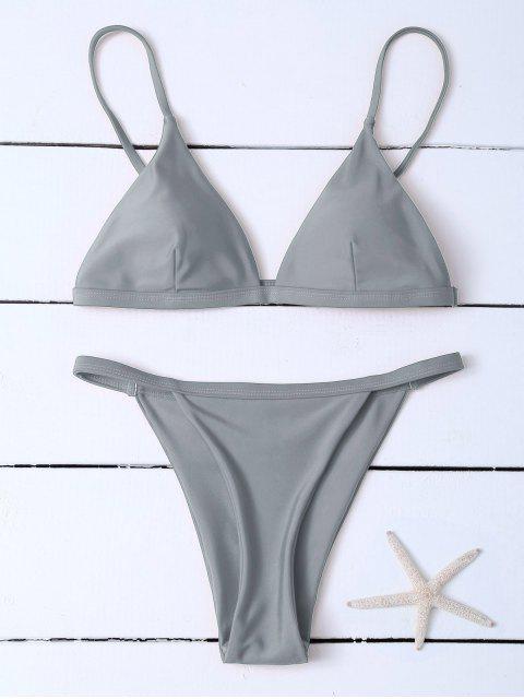 online Low Waisted Spaghetti Strap Bikini Swimwear - GRAY M Mobile