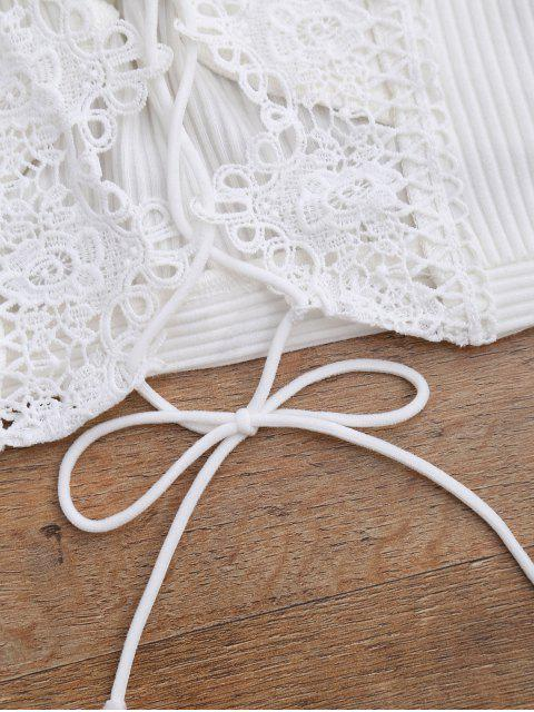 Crochet Panel Plunge Lace Up Cropped Cover Up - Blanc S Mobile