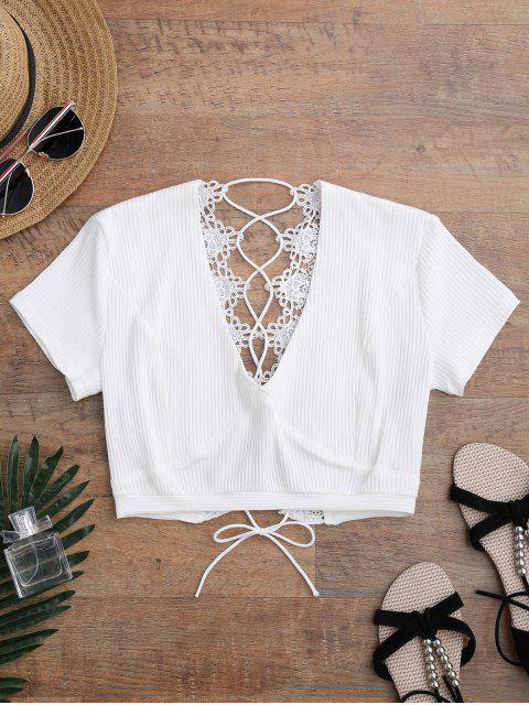 ladies Crochet Panel Plunge Lace Up Cropped Cover Up - WHITE XL Mobile