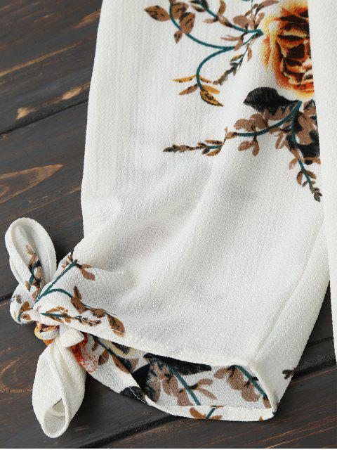 fancy Off Shoulder Keyhole Floral Cropped Blouse - WHITE L Mobile