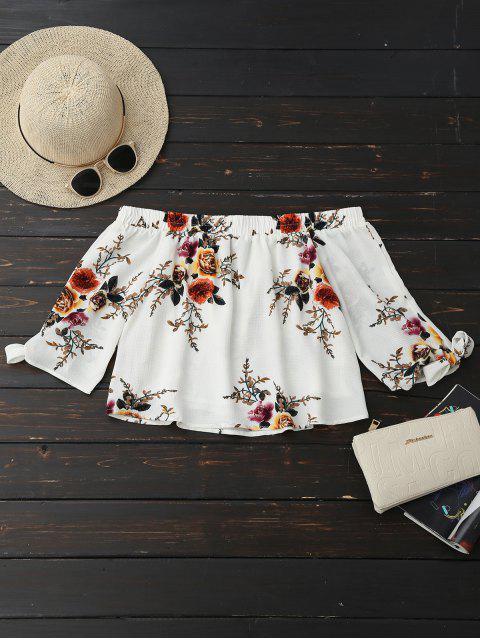 blouse à encolure bateau et à motif floral - Blanc L Mobile