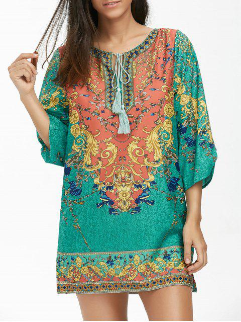 Vestido de túnica de impresión barroca con borla - Colormix M Mobile