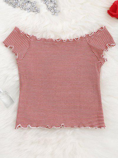 Striped Ruffles Ribbed Top - Stripe