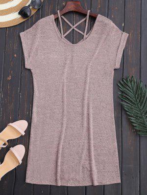 Vestido Recto De Tejido Con Escote Pico En Espalda Con Tira Cruzada - Rosa Luz L