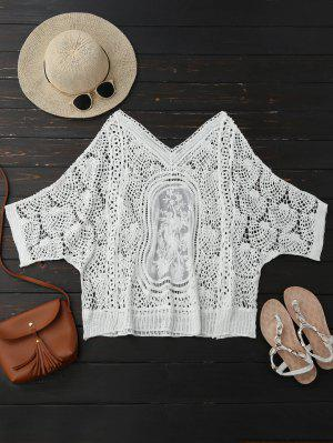 Hollow Out Lace Batwing Sleeve Beach Top - Blanco