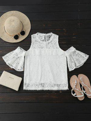 Cold Shoulder Flare Sleeve Lace Top - Branco M
