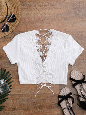 Couverture En Crochet à Empiècement Plongeant En Dentelle - Blanc S
