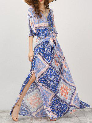 Maxi Vestido Con Estampado De Cinta Con Manga De Kimono - S