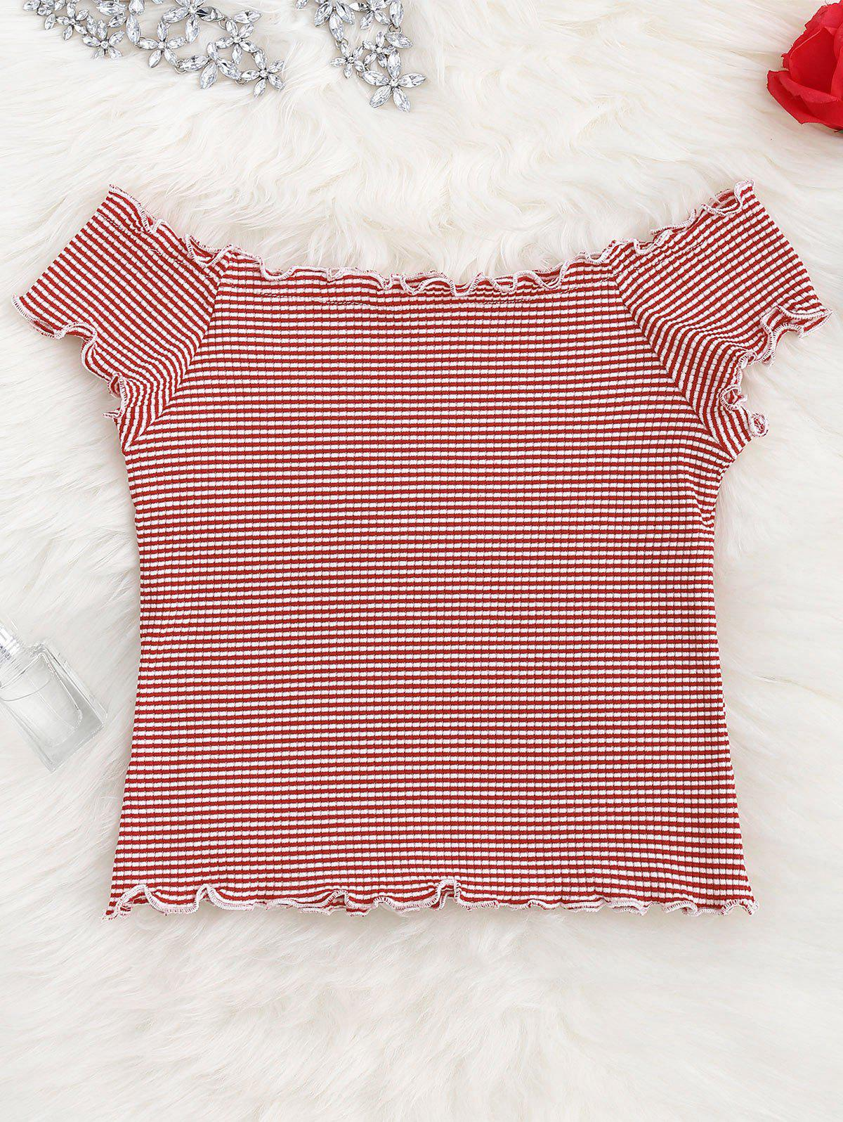 Striped Ruffles Ribbed Top 212533601