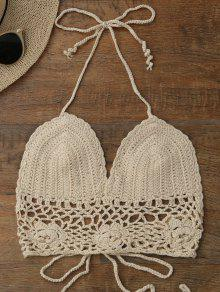 Crochet Unlined Backless Crop Top - Palomino