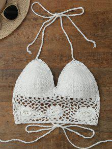 Buy Crochet Unlined Backless Crop Top - WHITE ONE SIZE