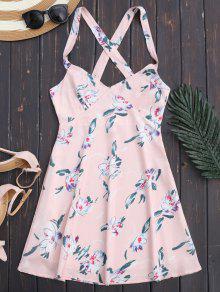 Floral Backless Summer Dress - Light Pink L