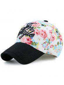 الأزهار المطبوعة خطابات التطريز قبعة بيسبول - أسود