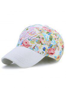 Gorras De Béisbol Bordadas Floral Impresas De Las Letras - Blanco