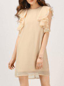 Chiffon Ruffles Mini Dress - Nude S