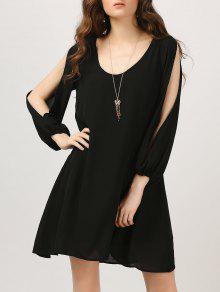 Chiffon Split Sleeve Tunic Dress - Black Xl