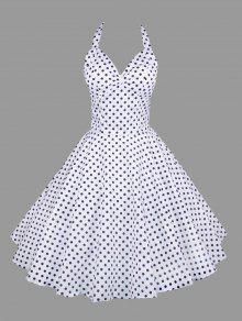 فستان رسن البولكا نقطة عارية الظهر - أبيض M